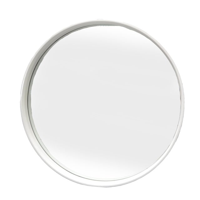 White Round White Bentwood Wall Mirror For Sale - Image 8 of 8