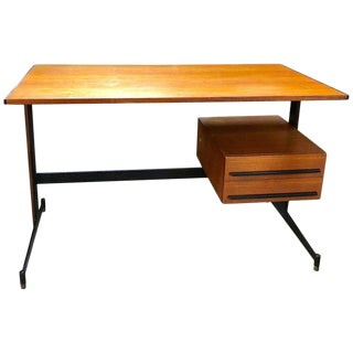Midcentury Italian Teak Writing Desk, 1950s For Sale
