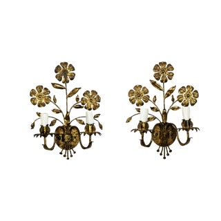 Italian Floral Candelabra Sconces (Pair) For Sale