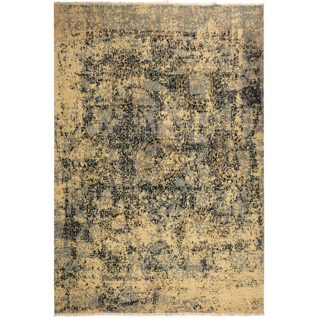 Blue Abstract Modern Elena Ivory/Blue Wool Rug - 8'0 X 10'3 For Sale - Image 8 of 8