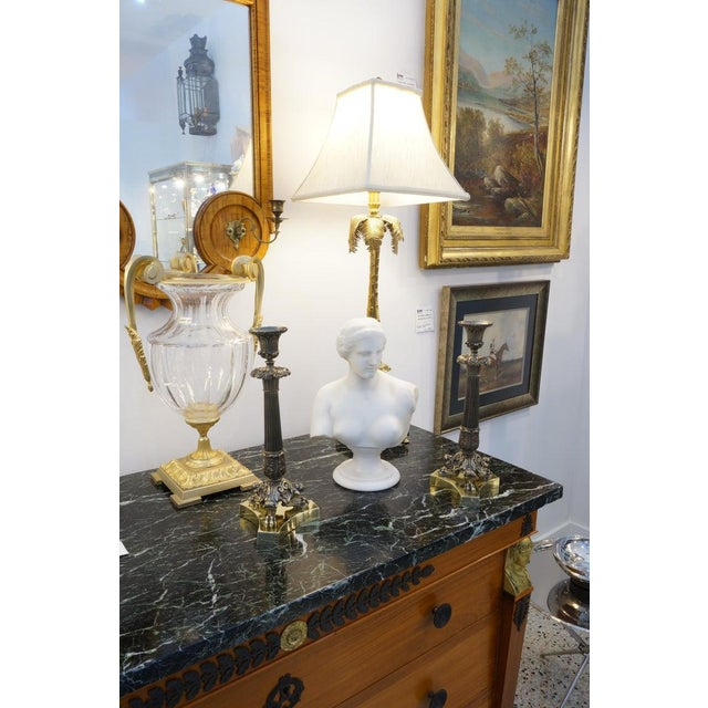 Vintage Neoclassical Revival Candlesticks in Patinated & Polished Brass Candle Holders - a Pair For Sale - Image 11 of 12