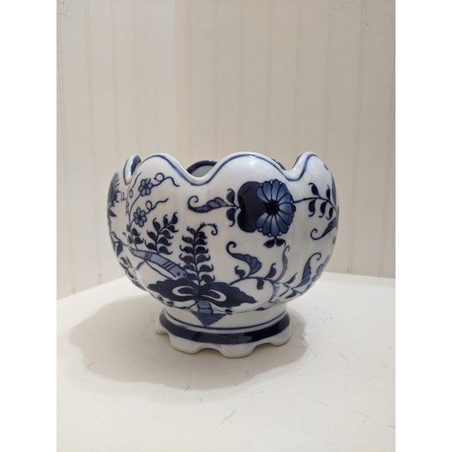Unique blue and white porcelain ornamental bowl.