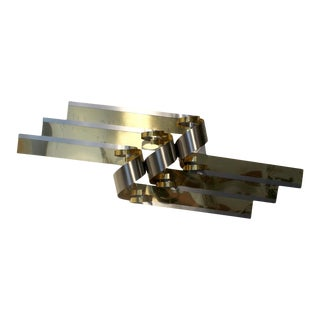 Large C. Jere Chrome and Brass Ribbon Wall Sculpture For Sale