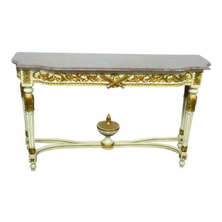 Swedish Style Marble Top Console Table For Sale
