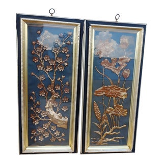 Asian Style Carved Gilt Panels - a Pair For Sale