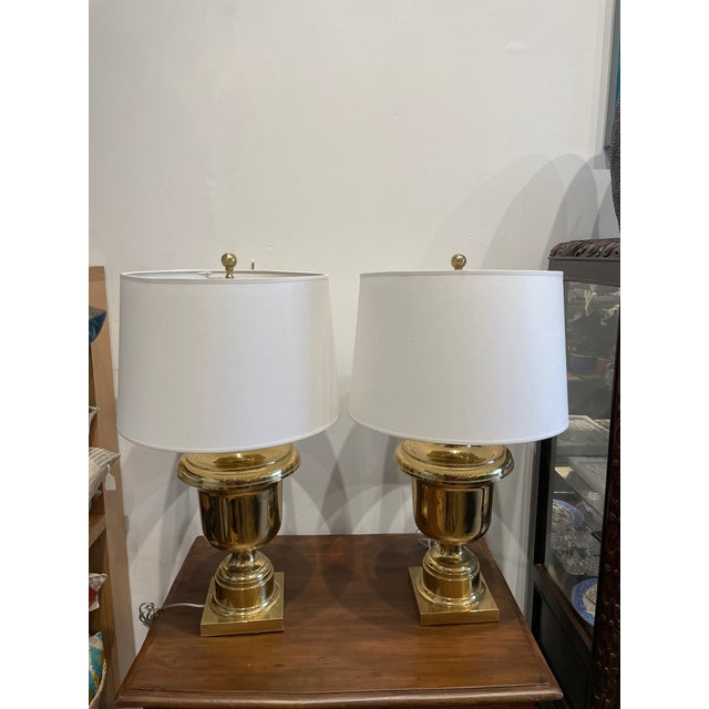 Vintage Brass Trophy Urn Table Lamp Pair For Sale - Image 9 of 9