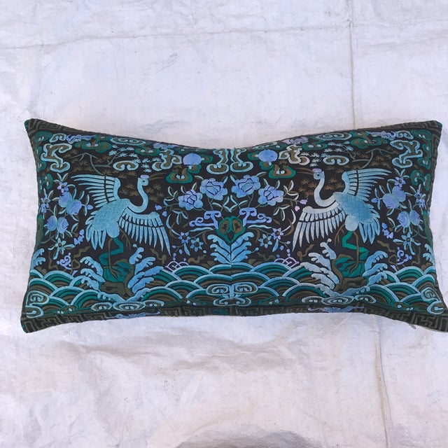 Hollywood Regency Blue & Black Asian Chinoiserie Boudoir Pillow - Image 4 of 6