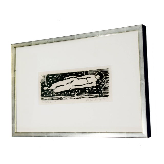 1950s Mid-Century Modern Framed Nude Woodcut Artist Proof Signed Milton Avery, 1950s For Sale - Image 5 of 10