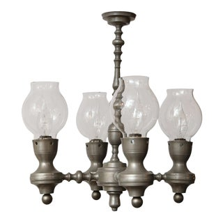 Four-Arm Belgian Pewter Chandelier For Sale
