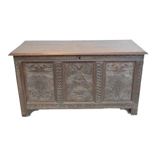 Carved Colonial Oak Chest For Sale