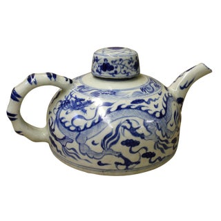 Chinese Blue & White Porcelain Teapot For Sale