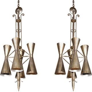 Art Deco Style Metal Fixtures - A Pair