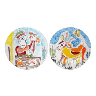 1960's Abstract Man and Donkey Dinner Plates by Giovanni DeSimone - Set of 2 For Sale
