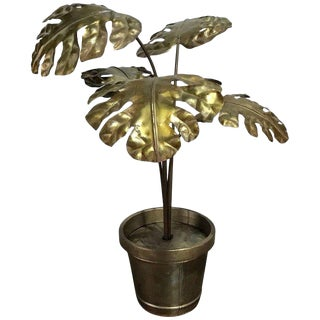 Large Tole Potted Palm Tree, in the Manner of Maison Jansen For Sale
