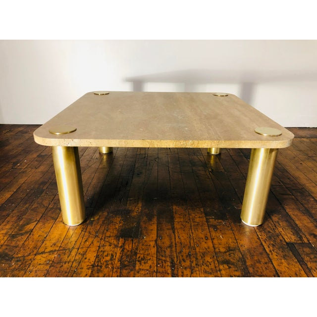 Metal 1970s Mid-Century Modern Karl Springer Travertine & Brass Coffee Table For Sale - Image 7 of 7