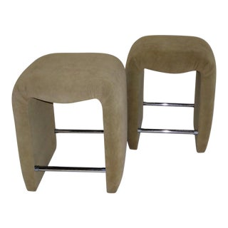 1970s Mid-Century Modern Faux Ostrich Upholstered Stools - a Pair For Sale