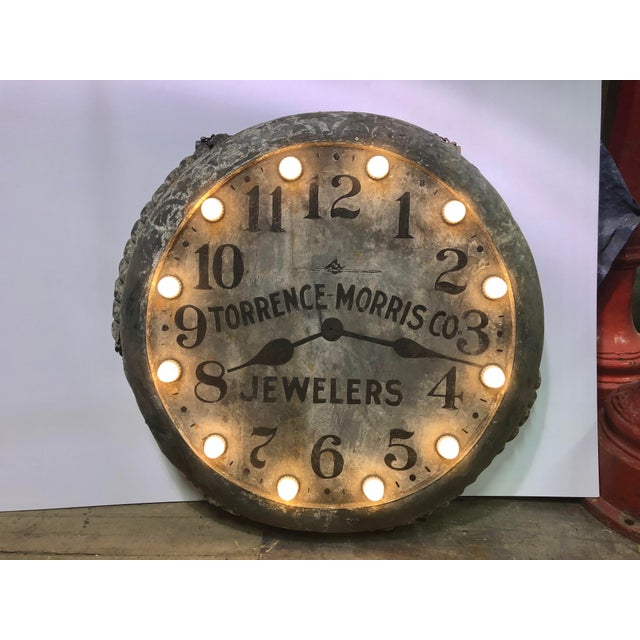 Gray 1910s Light Up Double Sided Jewelry/Clock Sign For Sale - Image 8 of 8