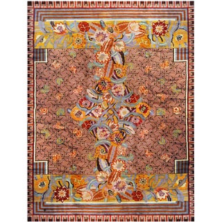 Floral Art Deco Wool Rug Designed by Jules Coudyser, Circa 1930 For Sale