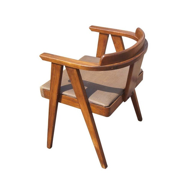 Brown Mid Century Modern Oak Vanity and Chair - 2 Pieces For Sale - Image 8 of 11