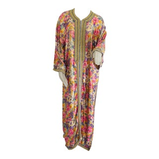 Elegant Moroccan Caftan Metallic Floral Silk Brocade For Sale