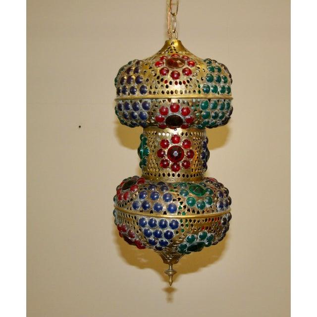 Vintage 1970s Turkish Brass Multicolor Lantern For Sale - Image 9 of 9