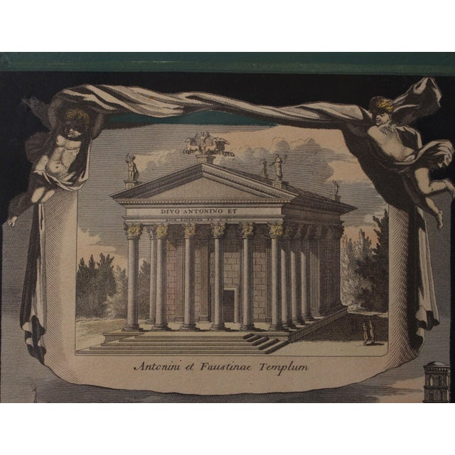 Early 1800s Antique Italian Neoclassical Hand Colored Roman Temple & Ruins Engravings in Gilt Wood Frames - a Pair For Sale In Los Angeles - Image 6 of 8