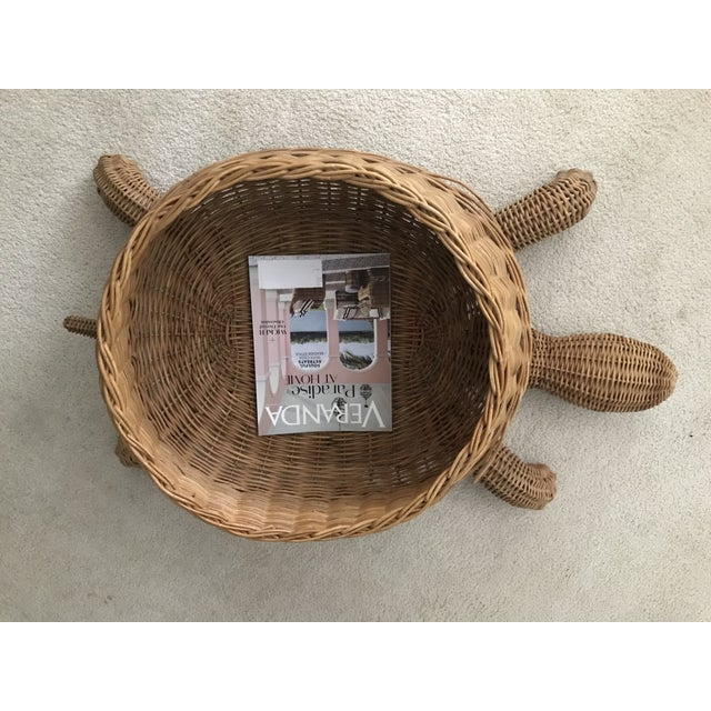 Mid Century Mario Torres Lopez Style Chinoiserie Large Wicker Turtle Basket Planter For Sale In Atlanta - Image 6 of 7