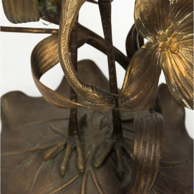 Brass Crane Lamp Circa 1910 With Shade For Sale In New York - Image 6 of 8
