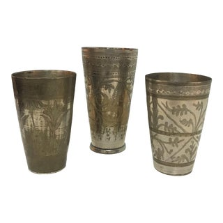 1940's Moroccan Hand Made Kiddush Cups - Set of 3 For Sale