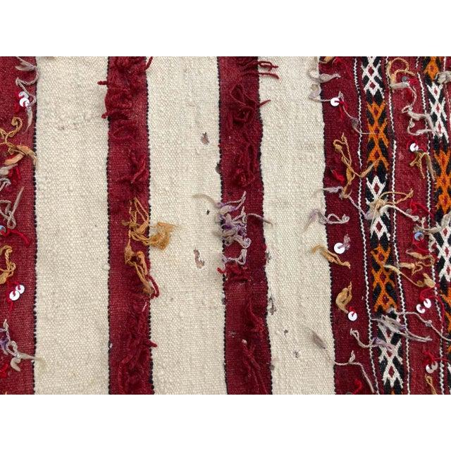 Tribal Moroccan Vintage Tribal Kilim Handira Rug, circa 1960 For Sale - Image 3 of 13