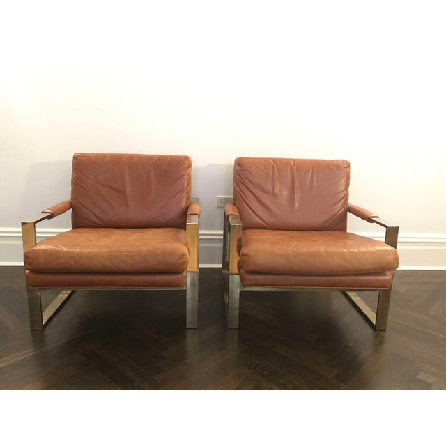 Milo Baugman by Thayer Coggin Brown Leather Chairs - a Pair - Image 2 of 6