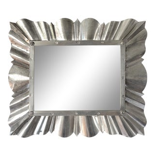 1970s Vintage Art Deco Style Aluminum Wall Mirror For Sale