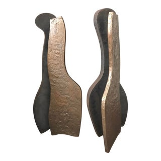 Vintage Abstract Bronze and Steel Andirons - a Pair For Sale