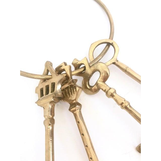 Large Brass Skeleton Keys on Brass Ring - Image 3 of 5
