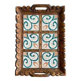 Hand Carved Serving Tray With Tile For Sale
