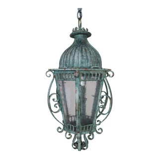 Painted French Wrought Iron Lantern W/ Domed Shaped Top C. 1930's For Sale