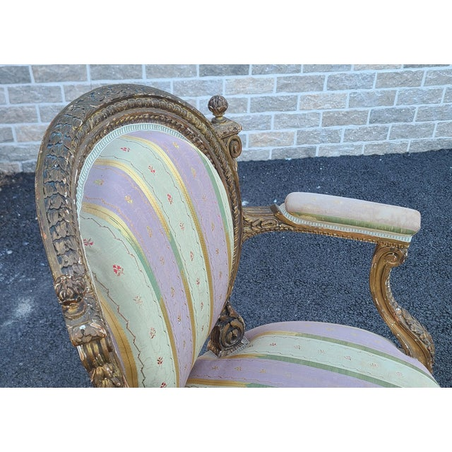 Wood Fine Early 19th Century French Louis XVI Style Gilded Parlor Armchair For Sale - Image 7 of 12