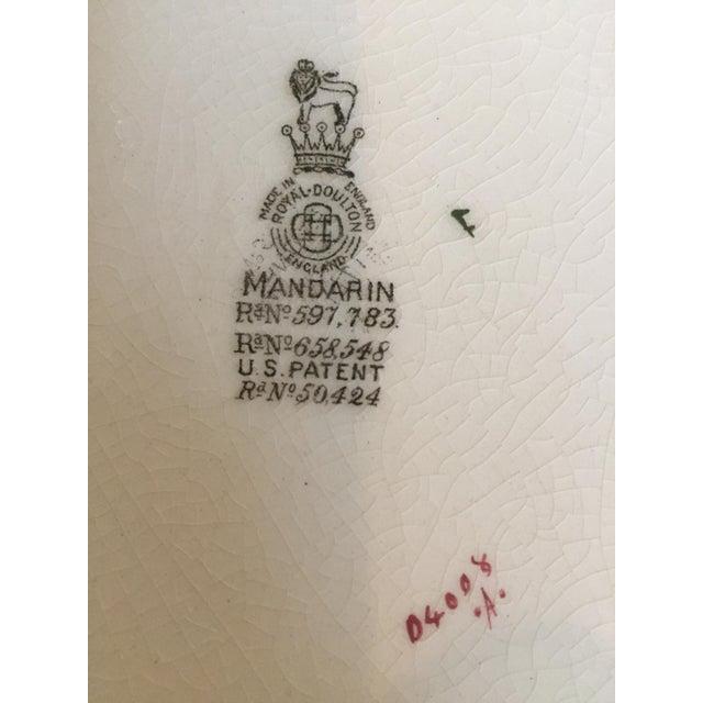 "Ceramic Royal Doulton Chinoiserie ""Mandarin"" Pattern Platter and Dinner Plate Set - 2 Pc. For Sale - Image 7 of 13"