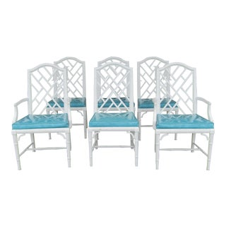 Century Chippendale Faux Bamboo & Turquoise Vinyl Dining Chairs- Set of 6