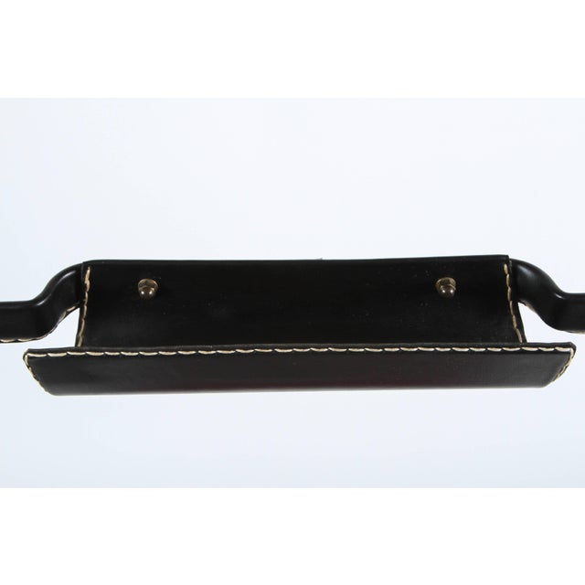 Black Jacques Adnet Leather Wrapped Valet With Original Tartan Plaid Wool Upholstery For Sale - Image 8 of 10