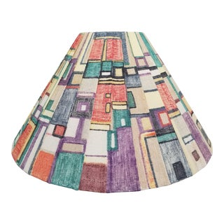 Mid Century Hand Painted Geometric Pleated Empire Lamp Shade For Sale