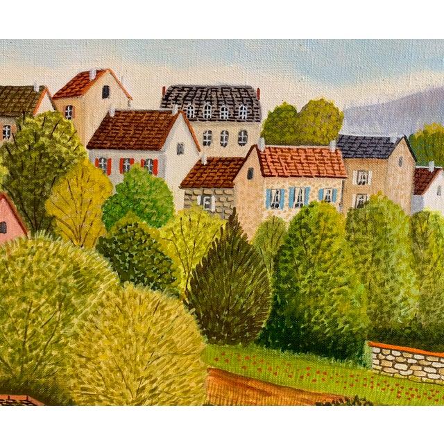 """1970s 1970s Andre Bouquet Painting """"Village De l'Ite Au France"""" For Sale - Image 5 of 11"""