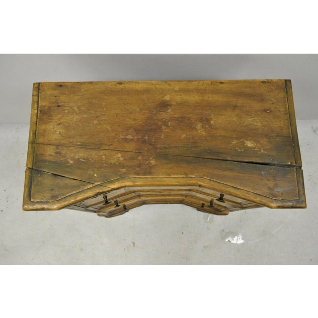 Antique Italian Continental 3 Drawer Inlaid Walnut Commode Chest Nightstand For Sale In Philadelphia - Image 6 of 12