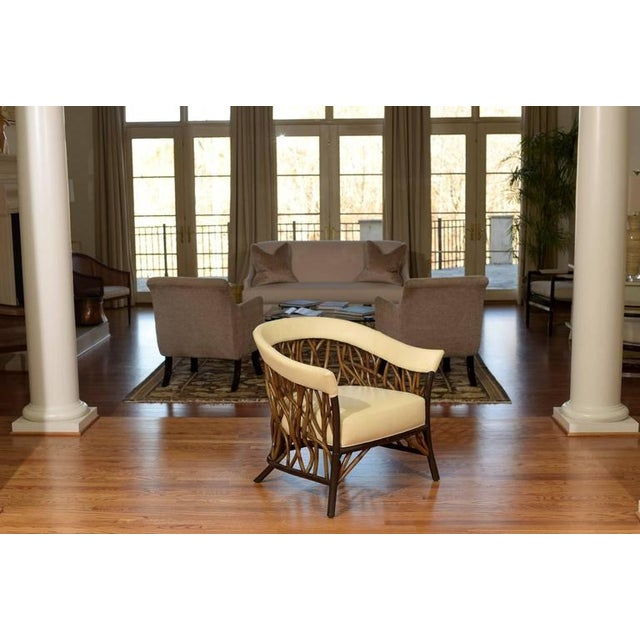 Stunning Pair of Rattan Club Chairs in Parchment Leather For Sale - Image 5 of 9