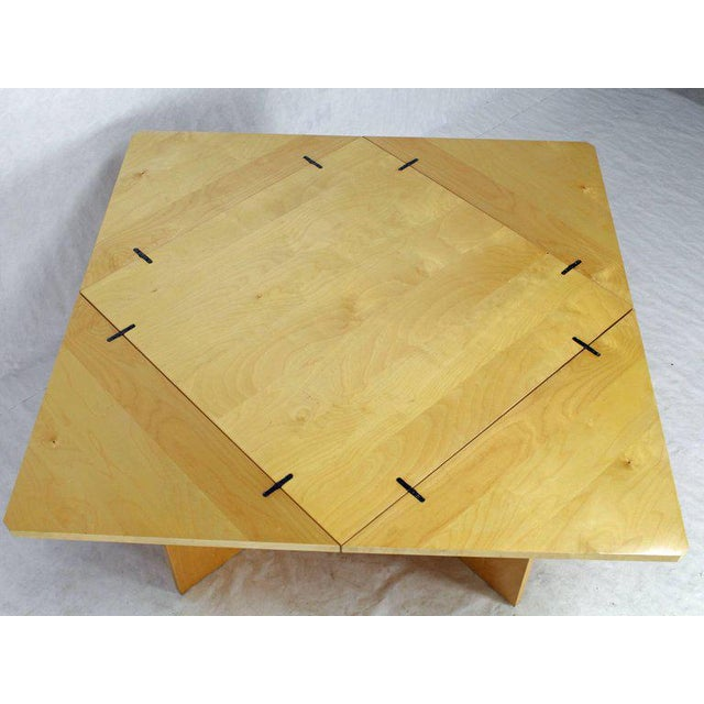 Mid 20th Century Mid-Century Modern Folding Convertible Two Sizes Birch Square Conference Dining Table X-Base For Sale - Image 5 of 7