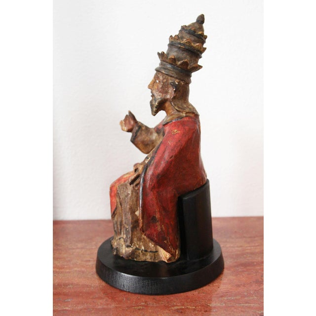 17th Century 17th Century Indo-Portuguese Pope Saint Peter, Religious Baroque Wood Sculpture For Sale - Image 5 of 12