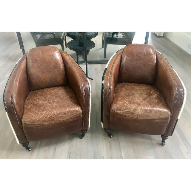 Regina Andrew Leather Cowhide Club Chair For Sale - Image 10 of 11