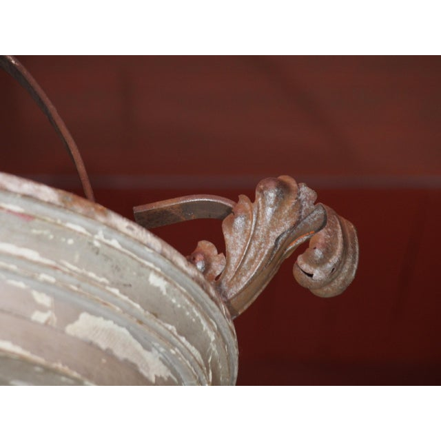 Iron Large French and Iron Wood Painted Lantern For Sale - Image 7 of 10