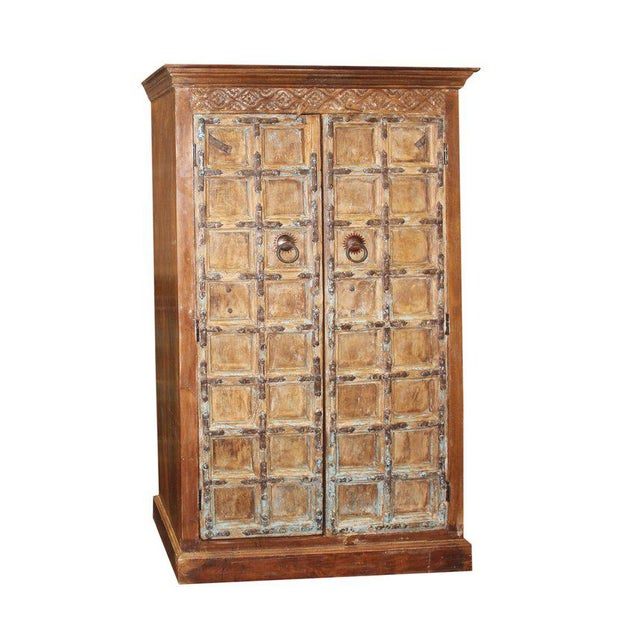 Asian 1920s Indian Teak Hand Carved Armoire For Sale - Image 3 of 7