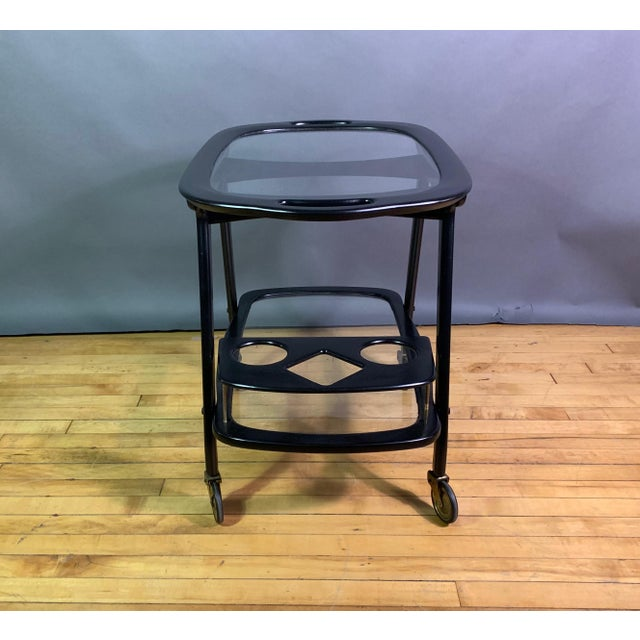 Ico Parisi 1955 Ebonized Mahogany Bar Cart, Italy For Sale - Image 10 of 11